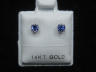 Benitoite Stud Earrings, .33 tcw, 14k White Gold