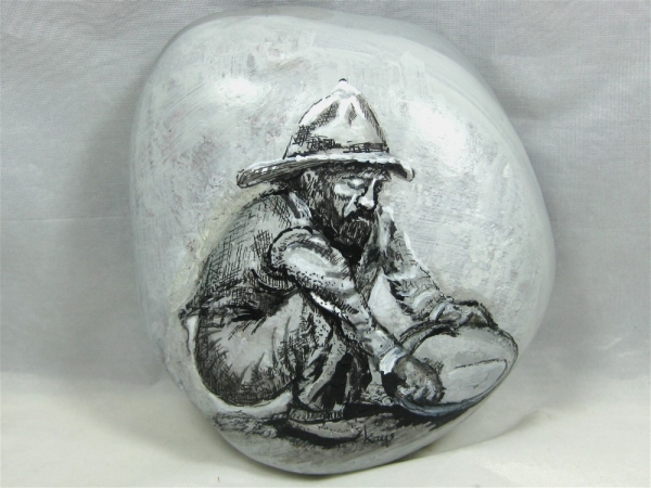"Painted Rock, ""Vintage Panning for Gold"""