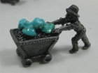 Pewter Miner Ore Carts with Turquoise
