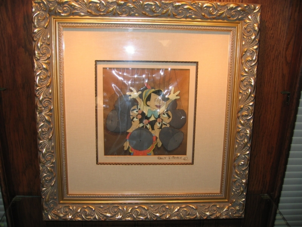 "Disney's Pinocchio, Framed Original Production Cel, 1940, ""I've Got No Strings"", Courvoisier prepared multi cel setup"