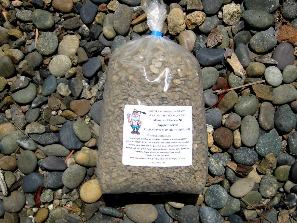 Montana Eldorado Bar Sapphire Gravel, 10 pounds, + 20 carats